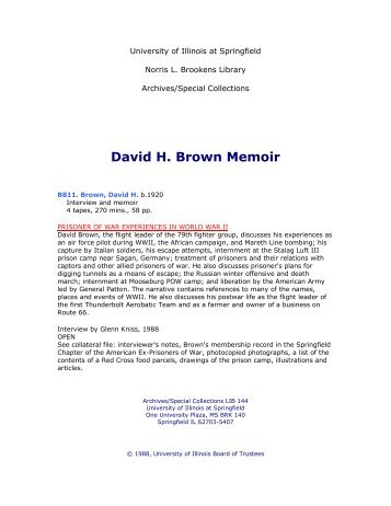 David H. Brown Memoir - University of Illinois Springfield