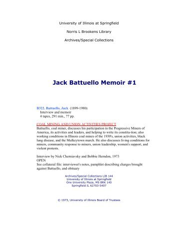 Jack Battuello Memoir #1 - University of Illinois Springfield
