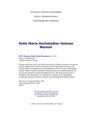 Hella Maria Hochstadter Holman Memoir - University of Illinois ...