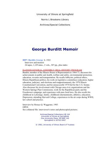 George Burditt Memoir - University of Illinois Springfield