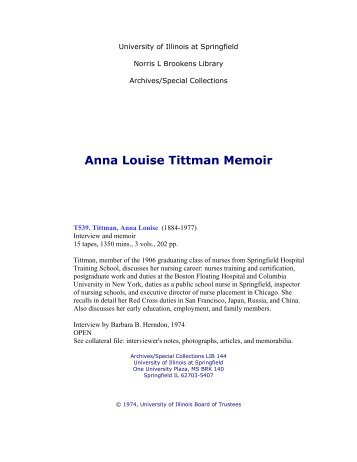 Anna Louise Tittman Memoir - University of Illinois Springfield