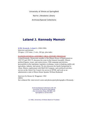 Leland J. Kennedy Memoir - University of Illinois Springfield