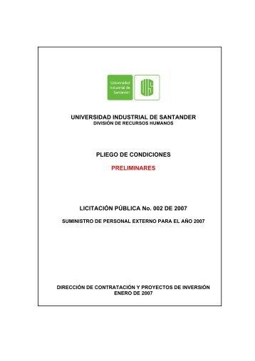 Pliego de Condiciones Preliminares - Universidad Industrial de ...
