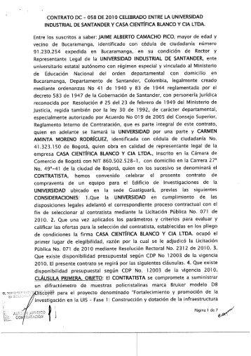 contrato dc - 058 de 2010 celebrado entre la universidad industrial ...
