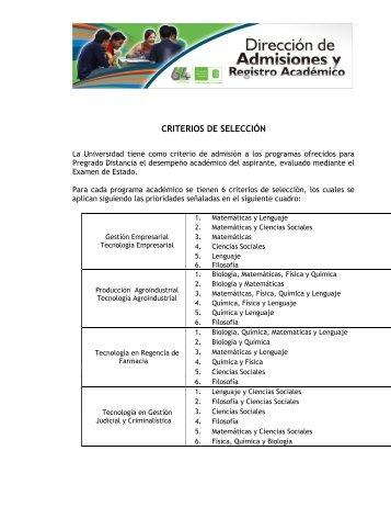 criterios de admisión - Universidad Industrial de Santander