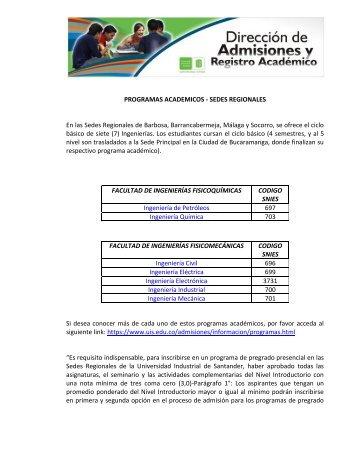 PROGRAMAS ACADEMICOS - Universidad Industrial de Santander