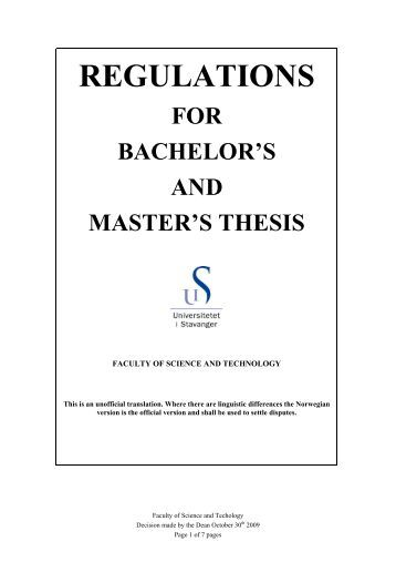 For the master thesis