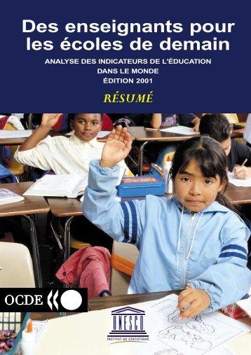 Des Enseignants pour les écoles de demain - Institut de statistique ...