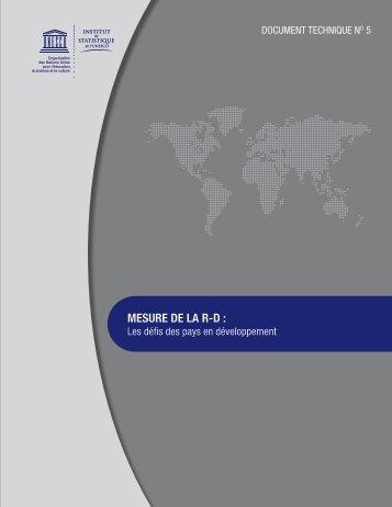 meSURe De LA R-D : - Institut de statistique de l'Unesco