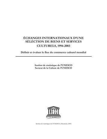 échanges internationaux d'une séléction de biens et services ...