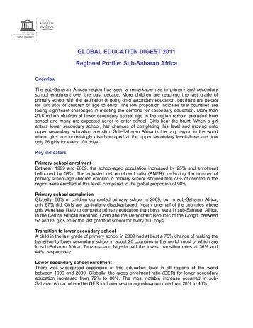 GLOBAL EDUCATION DIGEST 2011 Regional Profile - Institut de ...