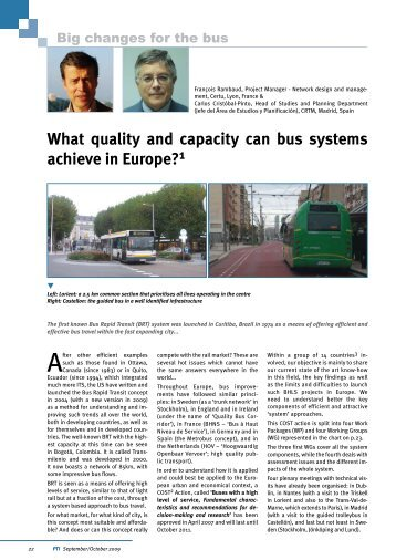 What quality and capacity can bus systems achieve in Europe? 1