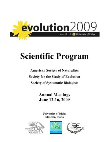 Evolution 2009 Program - Multiple Choices - University of Idaho