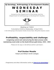 Profitability, respectability and challenge - University of Johannesburg