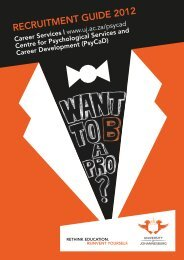 RECRUITMENT GUIDE 2012 - University of Johannesburg
