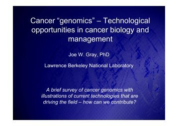 "Cancer ""genomics"" – Technological opportunities in cancer biology ..."