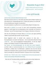 Liebe igf-Freunde, Newsletter August 2012