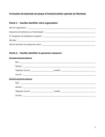 Formulaire de demande de plaque d'immatriculation spéciale du ...
