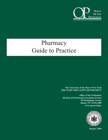 Pharmacy Guide To Practice   Office Of The Professions   New York .