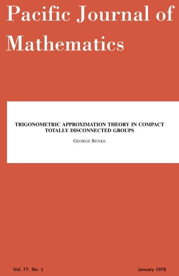 Trigonometric approximation theory in compact totally ... - MSP