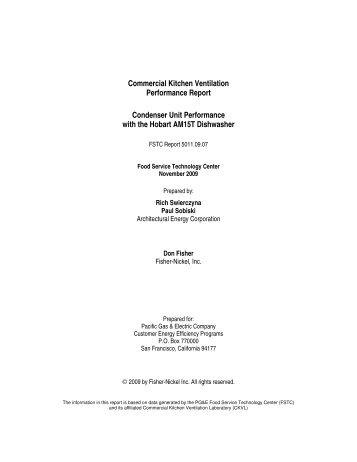 Commercial Kitchen Ventilation Performance Report Condenser ...