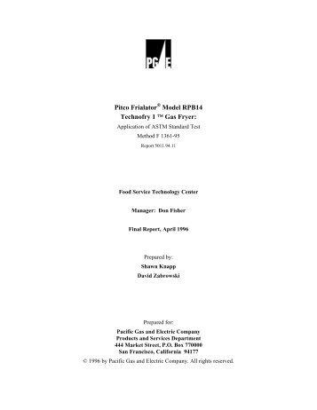Pitco Frialator Model RPB14 Technofry 1 ™ Gas Fryer: