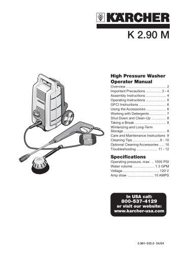karcher 1700 psi pressure washer manual