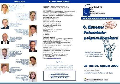 6. Essener Felsenbein-präparationskurs 28. bis 29. August 2009