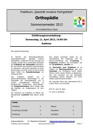 Praktikum Orthopädie SS 13 - Universitätsklinikum Essen