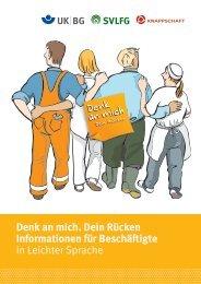 Informationen für Beschäftigte in Leichter Sprache - Denk an mich ...