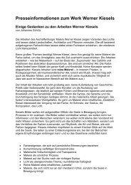 Presseinformationen zum Werk Werner Kiesels