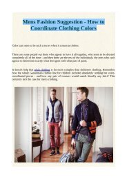 Mens Fashion Suggestion - How to Coordinate Clothing Colors