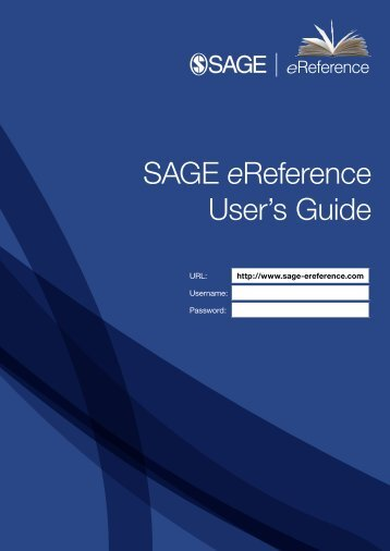 SAGE eReference User's Guide