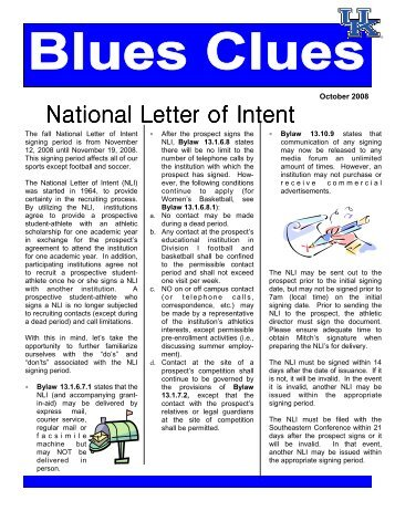 Understanding The National Letter Of Intent   The National High