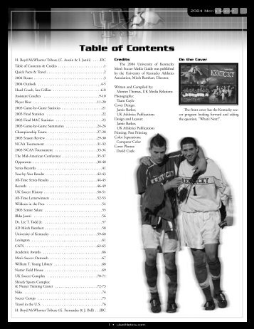 01-Table of Contents.qxp - University of Kentucky Athletics