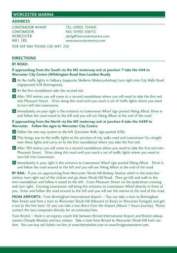 3531 ABC A5 4pp Worcester Guide Insert - UK Boat Hire