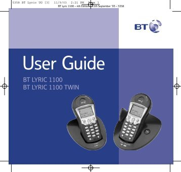 BT Lyric 1100 User Guide - UkCordless