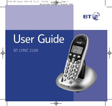 BT Lyric 2100 User Guide - UkCordless