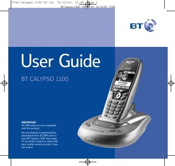 BT Calypso 1100 User Guide - UkCordless