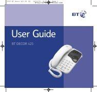 BT Decor 425 User Guide - UkCordless