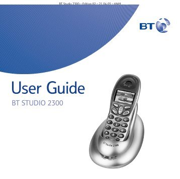 BT Studio 2300 User Guide - UkCordless