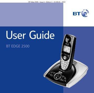 BT Edge 2500 User Guide - UkCordless