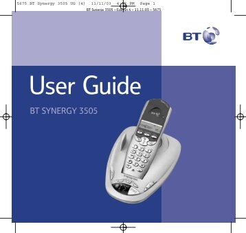 BT Synergy 3505 User Guide - UkCordless