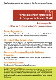 Call for Fair and Sustainable Agricultures in ... - UK Food Group
