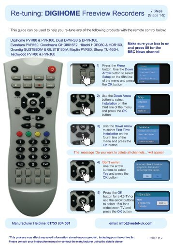 Digihome Freeview Recorder Manual