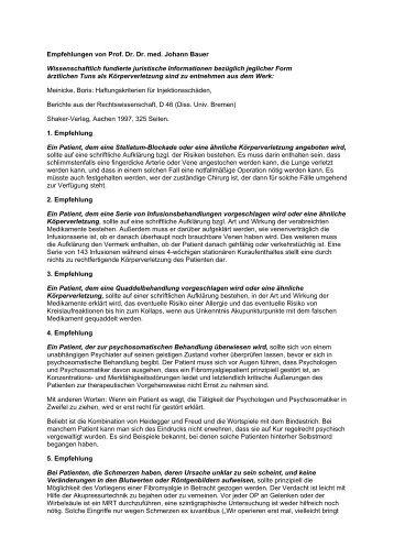 Empfehlungen von Prof. Dr. Dr. med. Johann Bauer ...