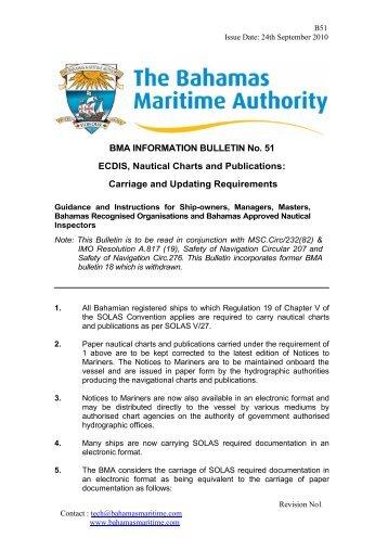 BMA INFORMATION BULLETIN No. 51 ECDIS, Nautical Charts and ...