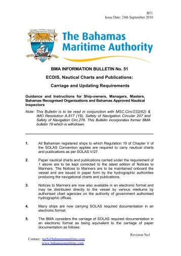 BMA INFORMATION BULLETIN No. 51 ECDIS, Nautical Charts and ...