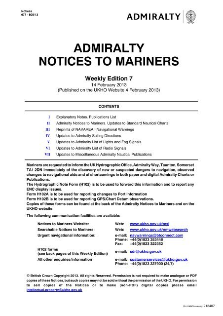 Admiralty Notices to Mariners - United Kingdom Hydrographic