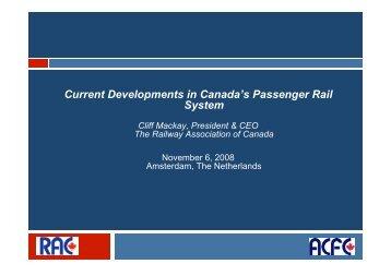 Current Developments in Canadas Passenger Rail System